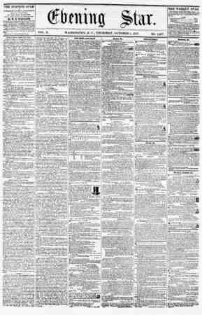 I * VOL. X. WASHINGTON, D. C.A THURSDAY, OCTOBER 1, 1857. NO. 1,467. THE EVENING STAR is PUBLISHED EVERY AFTERNOON, (SUNDAY