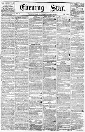 VOL. X. WASHINGTON, D. C., FRIDAY, OCTOBER 9, 1857. NO. 1,474. THE EVENING STAR n PUBLISHED EVERY AFTERNOOff, (SUNDAY...