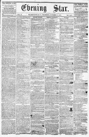 VOL. X. WASHINGTON, D. C., THURSDAY, OCTOBER 15, 1857. THE EVENING STAR l* PUBLISHED EVERY APTERXOON, (FUNWAV EXCEPTED,) AT