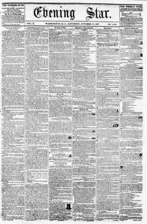 VOL. X. WASHINGTON. D. C., SATURDAY, OCTOBER 17, 1857. NO. 1,481. THE EVENING STAR la PUB LIS RED EVERY AFTERNOON, (SUNDAY