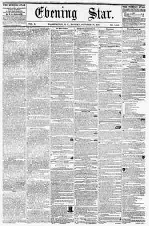 VOL. X. WASHINGTON, D. C., MONDAY, OCTOBER 19, 1837. NO. 1,482. THE EVENING STAR x? PUBLISHED EVERT AFTERNOON, (SUNDAY...
