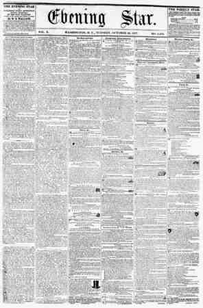 1**ll VOL. X. WASHINGTON, D. C., TUESDAY, OCTOBER 20, 1857 NO. 1,483. THE EVENING STAR M PUBLISHED EVERY AFTERNOON, (SUNDAY