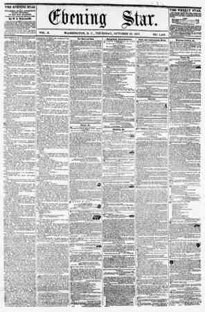 VOL. X. WASHINGTON, D. C., THURSDAY, OCTOBER 29, 1857. ISO. 1,491. THE EVENING STAR PUBLISHED EVERY AFTERKOOlfx (SUNDAY...