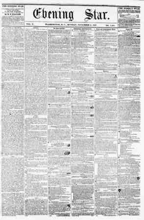 VOL. X. WASHINGTON, D. MONDAY, NOVEMBER 2, 1857. NO. 1,494. THE EVENING STAR !? rUBUSHED EVERY AFTERNOON, (SUNDAY KXCKPTED.)