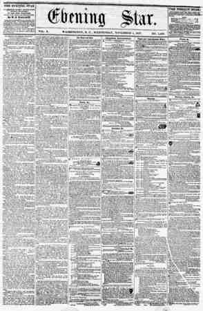 VOL. X. WASHINGTON, 1). C., WEDNESDAY, NOVEMBER 4, 1857. NO. 1.496. 4 THE EVENING STAR is PUBLISHED EVERY AFTERNOON, (8U>DAY