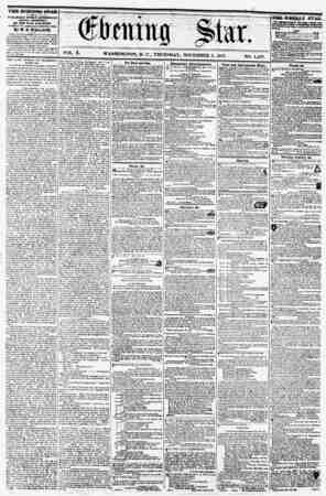 "I VOL. X. WASHINGTON, D. C., THURSDAY, NOVEMBER 5, 1857. NO. 1,497. THE EVENING STAR ^ II 71"" < i PUBLISHED EVERY ATTBENOOJf,"