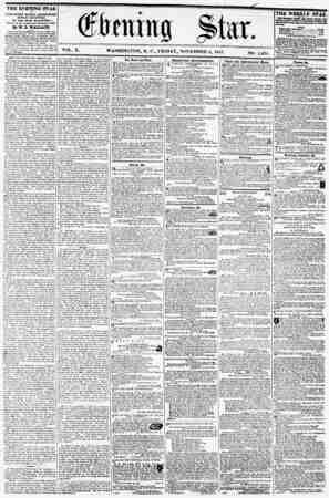 "VOL. X. WASHINGTON, D. C., FRIDAY, NOVEMBER fi, 1857. NO. 1,498. i THE EVENING STAR rUVUSHKD EVERY AFTERNOON, (8L""NDAY..."