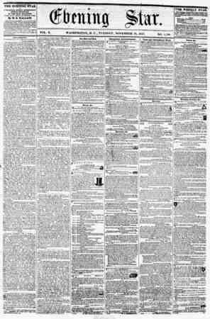 """VOL. X. WASHINGTON. D. C., TUESDAY, NOVEMBER 10, 1857. NO. 1,501. 9 ' -? . ? it ? ? ? """" . A THE EVENING StAR is PUBLISHED..."""