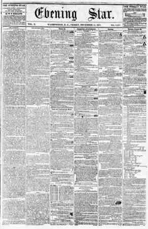 VOL. X. WASHINGTON. D. C., FRIDAY, DECEMBER 11, 1857. NO. 1,527. 1? ? THE EVENING STAR la PUBUOHKD KVEUT A PT Ml NOON,...