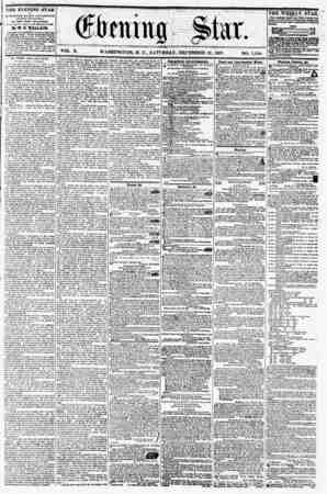VOL. X. WASHINGTON, D. C., SATURDAY, DECEMBER 12, 1857, NO. 1,528. THE EVENING STAR ii PUBLISHED EVERY APTiilirfOON, (SUNDAY
