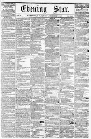 VOL. X. WASHINGTON, D. C., SATURDAY, DECEMBER 11), 1857. NO. 1,534. THE EVENING STAR It PUBLISHED EVERT AFTERNOON, (SUNDAY
