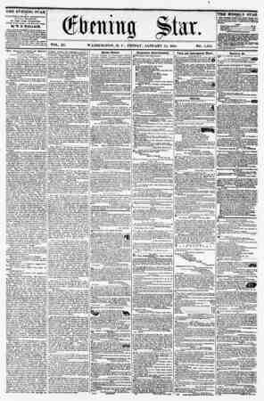 VOL. XI. WASHINGTON, D. C., FRIDAY, JANUARY 15, 1858. NO. 1,556. . , i THE EVENING STAR It PUBLISHED EVERT AFTERNOON, (SUNDAY
