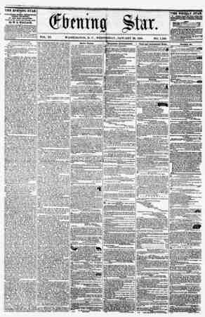VOL. XI. WASHINGTON, D. C., WEDNESDAY, JANUARY 20, 1858. NO. 1,560. THE EVENING STAR It PUBLISHED EVERT AFTERNOON, (SUNDAY