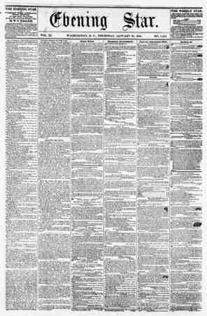 VOL. XI. WASHINGTON, D. C., THURSDAY, JANUARY 21, 1858. NO. 1,561. THE EVENING STAR I* PUBLISHED EVERT AFTERNOON, (SUNDAY...