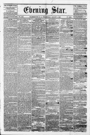 f 0 V2i. XVI. WASHINGTON. D. C.. WEDNESDAY. AUGUST 8. 1860. N?. 2.331. - I ? THE EVENING STAR I i? PUBLISHED EVERY AFTERNOON,