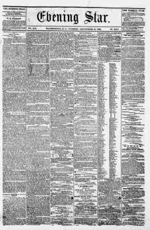 msw m ' -4. - v w ' vet. XVI. WASHINGTON. D. C.. TUESDAY. SEPTEMBER 25. 1860. N?. 2.372 ??????? THE EVENING STAR M PUBLISHED
