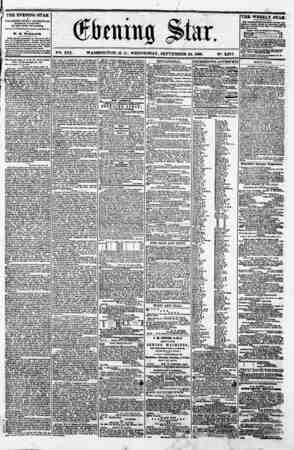 ' firming pSl ' | V-. XVI. WASHINGTON. D. C.. WEDNESDAY, SEPTEMBER 26. 1860. N?. 2573 P ' ???i+mmm?i J THE EVENING STAR ' u
