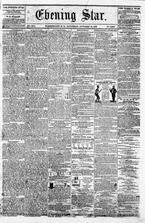 VSk. XVI. WASHINGTON. D. C.. SATURDAY. OCTOBER 13. 1860. N?. 2.889. THE EVENING STAR * * a PtrBUMlED E VER T AFTERNOON,...