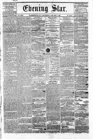 VHi. XVII WASHINGTON. D. C.. SATURDAY. JANUARY 5. 1861. N?. 2.459 THE DAILY EVENING STAR IS PUBLISHED RYBRT APTBRNOON...