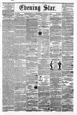 V?. XVII. WASHINGTON. D. C.. WEDNESDAY. JANUARY 9. 1861. N?. 2.462. THE DAILY EVENING STAR l? FWUSHBD EVERT AFTERNOON,...