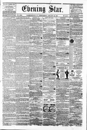 i M (&bmitig ^>tar. V?. XVII WASHINGTON. D. C.. WEDNESDAY. JANUARY 23. 1861 N?. 2.474. f K gi 1 THE DAILY EVENING STAR ia TUB