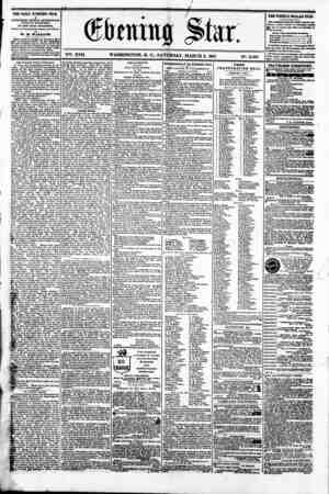 V2S. XVII. WASHINGTON. D. C.. SATURDAY. MARCH 2. 1861 N?. 2.507 THE DAILY EVENING STAR IS PUBLISHED EVERT AFTERNOON,...