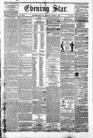 V2i. XVII. WASHINGTON. D. C.. MONDAY. MARCH 4. 1861 N?. 2.508. THE DAILY' EVENLNU STAR It rVBLWHFjO EVER Y AFTERNOON NDAY8