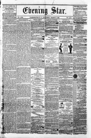 # ; / ? . / V?. XVII. i WASHINGTON. D. C.. SATURDAY. MARCH 9. 1861. N?. 2.513 I THE DAILY EVENING STAR 1 u TUBUSHED BVBRT...