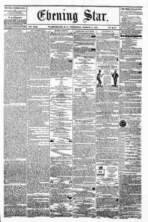 4 doming ^tu r. i ya. XVII. WASHINGTON. P. C.. THURSDAY. MARCH 14. 1861 N?. 2.517. THE DAILY EVENING STAR fUBLiaUED EVERT...