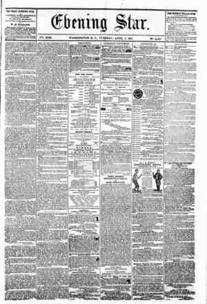 VSi. XVII. WASHINGTON. D. C.. TUESDAY. APRIL 2. 1861. the daily evening star M PJBLISHBD RVBRT APTE&NOON (SUNDAYS EXCEPTED,)