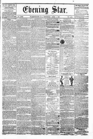 ves. XVII. WASHINGTON. U. C.. THURSDAY. APRIL 4. 1861. N?. 2.53j. THE DAILY EVENING STAR n P JbUSHBD BVBRT AFTBRNOOft,...