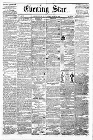 V?-i. XVII. WASHINGTON. D. C.. TUESDAY. APRIL 9. 1861 THE DAILY EVENING STAR ts T JBLI8HBD B VKR T AFTERNOON, (SUNDAYS...