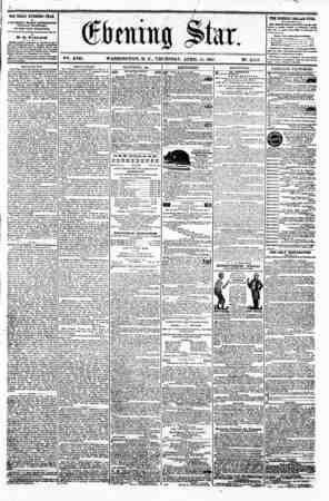 I (Kittling ji>tax 1 ? V?. XVII. WASHINGTON. D. C.. THURSDAY. APRIL 11. 1861. N?. 2.511. . w-? ! TH? DAILY EVENING STAR M p
