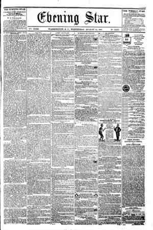 i W 9 * i . ^ . ; ^? ? bmm% Slur. \*K XVIII. WASHINGTON. D. C . WEDNESDAY. AUGUST 14. 1861. N-. 2.647. the evbning star u...