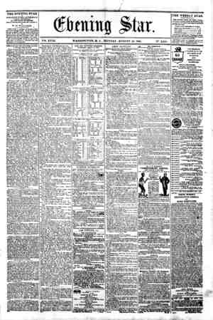 "i ] ___ ^ - A ' 1 """""" ^^ dteittg ?kr. m ' V?>. XVIII. WASHINGTON. D. C. MONDAY. AUGUST 19. 1861. N?. 2.651. THE EVENING STAR"