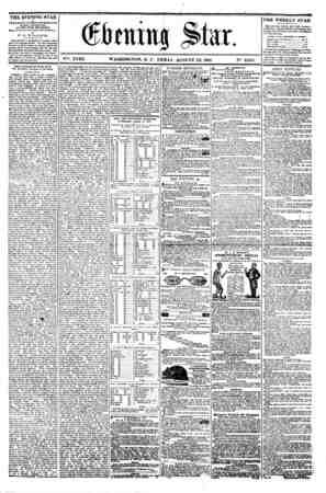 lrmttt$ Slur. y?: XVIII. WASHINGTON. D. C. FKDAY. AUGUST 23. 1861. N?. 2.655. the evening star M PUBLISH fD EVERY APTBRNOON,