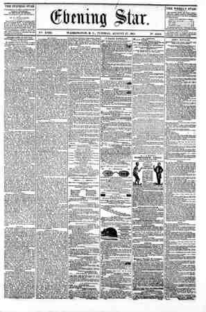 r (ftaini SI a r. V^. XVIII. WASHINGTON. D. C.. TUESDAY. AUGUST 27. 1861. N9. 2.658. ?^1???? ?? THE EVENING STAR u PUBLISHED