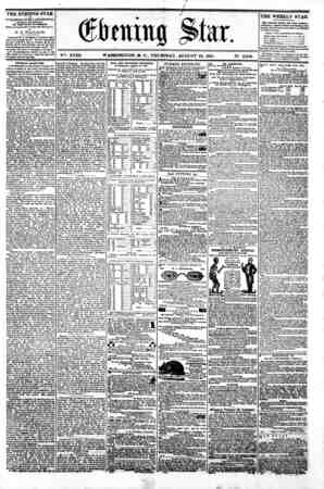"w I I I I I ??? I I (jftaiitg $>hx, r V""K XVIII. WASHINGTON. D. C.. THURSDAY. AUGUST 29. 1861. N?. 2.660. ^^^?? THE EVENING"