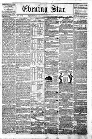 (gtaing Sta. V^. XVIII. WASHINGTON. P. C . WEDNESDAY. SEPTEMBER 4. 1861. N?. 2.665. THE EVENING STAR i* PUBLISHED EVERT...