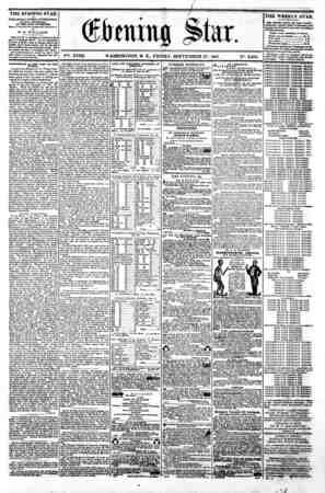 1 i ?tar. V%. XVIII. WASHINGTON. D. C.. FRIDAY. SEPTEMBER 27. 1861. N?. 2.685. the evening star M PUBLISHED BVB&r APTBRNOON,