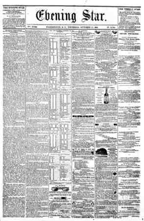 / V%. XVIII. WASHINGTON. D. C . THURSDAY. OCTOBER 17. 1861. N?. 2.702. THE EVENING STAR u PUBUSIIBD EVERT APTBRNOON, (SUNDAY