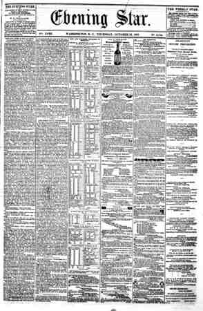 i i <* (gtaitig Star. XVIII. WASHINGTON. D. C . THURSDAY. OCTOBER 81. 1861. N?. 2.714. UlEEVENIING STAR * ? rUBLIBKED B VBB T