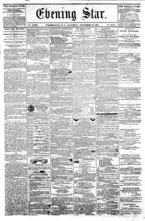 r ? 0 P&t V^. XVIII. WASHINGTON. D. C. SATURDAY. NOVEMBER 23. 1861. N?. 2.734. TUfc EVENING STAR ib PUBLISHED EVERT...