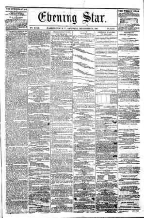 / 0 ~ * % . <&bmm Star. * y V V VSi. XVIII. WASHINGTON. D. C. SATURDAY. DECEMBER 21. 1861. N9. 2.757. 9 THE EVENING STAR u