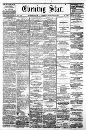 r / ??? ' ??? ' ?????? * Opening Star. Vffi. XIX. WASHINGTON, D. C. THURSDAY, JANUARY 30, 1862. N2. 2,790. THE EVENING STAR