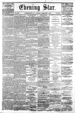r / . ? *> - ' t. 'tv '* >.,-. .* ^ V2fe. XIX. WASHINGTON, D C . TUESDAY, FEBRUARY 4, 1862. N?. 2,794. . THE EVENING STAR...