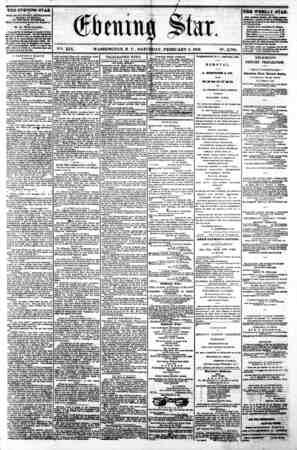WASHINGTON, D C. SATURDAY, FEBRUARY 8. 1862 N?. 2,798. THE EVENING STAR M PUBLISHED EVERT AFTERNOON, (SUNDAY EXCEPTED.) - AT