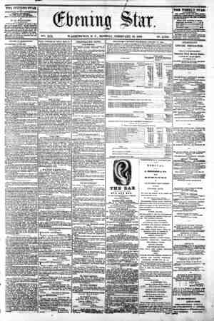"1^ ' * J) ' ' "" "" I . , ' V?. XIX. WASHINGTON, D. C. MONDAY, FEBRUARY 10, 1862. N?. 2,799. ? THE EVENING STAR a PUBLISHED..."