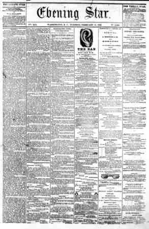 / I V2t. XIX. WASHINGTON, D C . TUESDAY, FEBRUARY 11, 1862. N9. 2,800. , THE LVEINIfiG STAR M FUBLESHED EVERT AFTERNOON,...