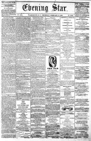 - t 1 V^. XIX. WASHINGTON, D. C. THURSDAY, FEBRUARY 13, 1862. N?. 2,802 THE EVENING STAR l? FUBUSltBD E VERT AFTERNOON,...